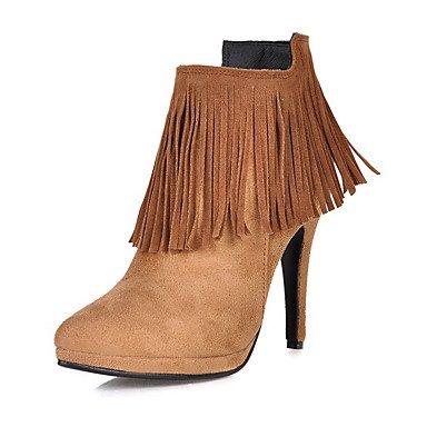 RTRY Scarpe Da Donna In Similpelle Di Moda Invernale Stivali Stivali Stiletto Heel Punta Babbucce/Stivaletti Zipper Nappa Per Abbigliamento Casual Mandorla US4-4.5 / EU34 / UK2-2.5 / CN33