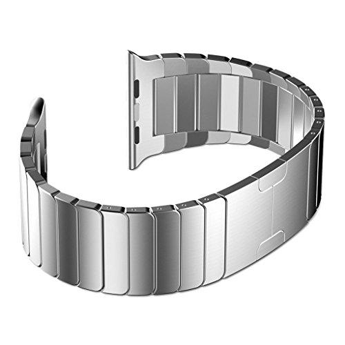Ontube para Apple Watch Correa - Desmontar Acero Inoxidable Bracelete Reemplazo iWatch Band de Reloj de con Hebilla Plegable de Doble Botnnes Pulsera para Apple Watch 42mm(Todos los Modelos Series 1/2) Plata