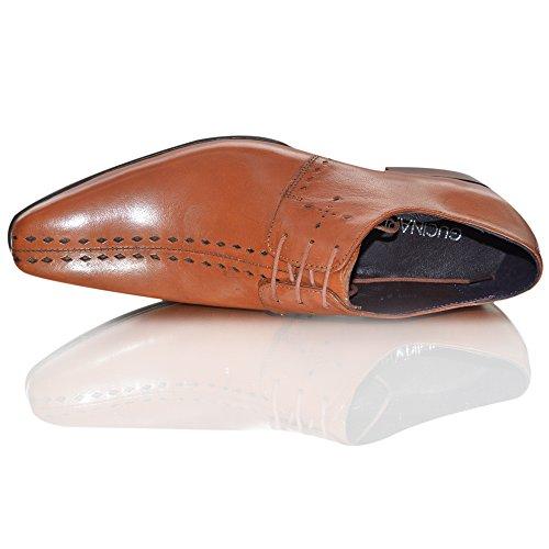 Gucinari , Chaussures de ville à lacets pour homme Marron marron 0-6 mois Brown Tan Lace Up