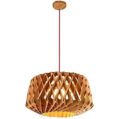 CAC Personalità breve Nordic Honeycomb luce pendente in legno duro incisa DIY lampada Drop w/ Filo rosso barra regolabile luce da pranzo