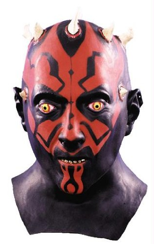 Darth Maul Maske Latex Halloween Kostueme Maske Gesicht Maske Over-the-Head-Maske Kostuem Stuetze Scary Creepy Schreckliche Maske Latex Maske fuer Maskerade Make-up Party (Darth Maul-makeup)
