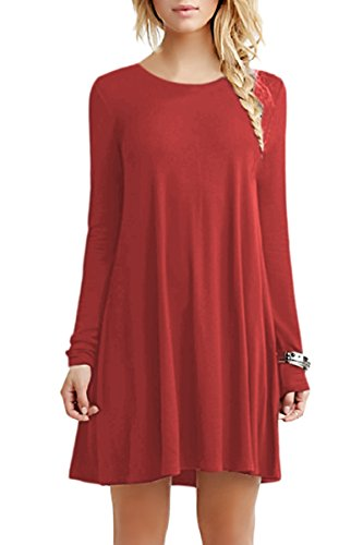 YMING Damen Langarm Kleid Lose T-Shirt Kleid Rundhals Casual Tunika Mini Kleid,Orange,2XL (Langarm Mini Kostüme)