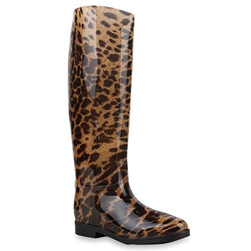 Gesteppte Damen StiefelLack Gummistiefel Boots SchnallenAnimal Prints Wasserdichte Regen Schuhe 64404 Schwarz Leopard 37 | Flandell® (Stiefel Leopard Print)