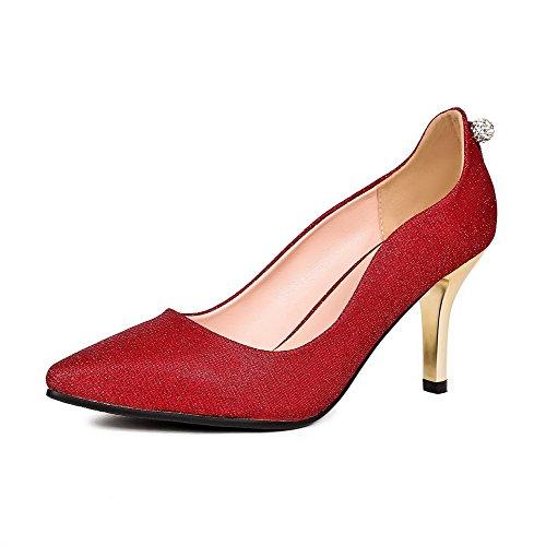 AgooLar Femme Matière Souple Pointu à Talon Haut Tire Couleur Unie Chaussures Légeres Rouge