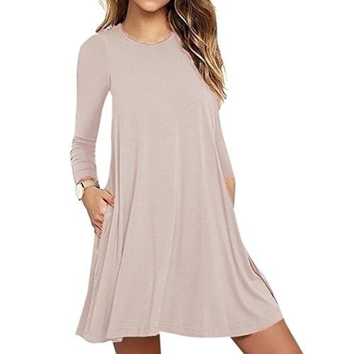 OverDose Mode Damen Langarm Tasche Casual locker T-Shirt Kleid Abend Party Kleid Blusenkleid O-Neck Basic Mini dress(A-Khaki ,EU-40/CN-L)