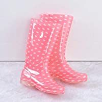 lonfenner Rain Boots,Fashion Polka Dot Comfortable Waterproof Non-Slip Easy To Clean Ladies Pink Middle Tube Rain Boots