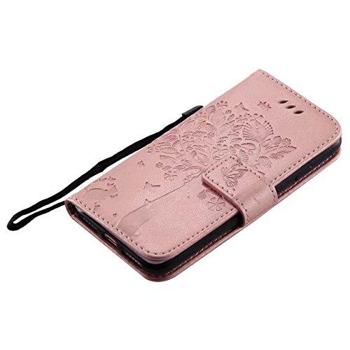 DaYiYang Case Cover IPhone 7 Fall, geprägte Blumen Katze und Baum-Kasten, Normallack PU-lederner Fall-Silikon-Abdeckungs-Wallet-Standplatz mit Handbügel für iPhone 7 ( Color : Rose ) Rosegold