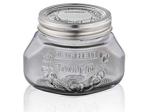 Leifheit Einmachglas 3er Set 0,5 L, Weckglas mit Deckel für Eingemachtes und Selbstgemachtes, dekoratives Vorratsglas, spülmaschinengeeignet, Marmeladenglas, Einkochglas, rund, Smokey Grey