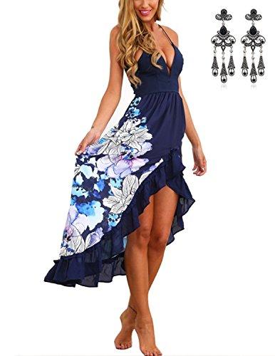 MODETREND Damen Ballkleid mit V-Ausschnitt Fischschwanz Geblümt Schlinge Volants Sommerkleid Abendkleid Elegante Kleider Blau