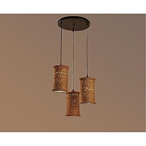 BJVB Cáñamo cáñamo cuerda lámpara sombra lámpara colgantes lámpara de techo luz