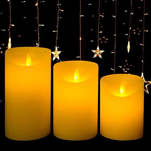 """GPODER LED Velas Sin Llama 3 Pieza, Con Mando a Distancia y Bateria Electrónicas Vela, Velas Parpadeantes Amarillo Temporizador Luz Por Decoración (3.9""""/4.9""""/5.9"""")"""
