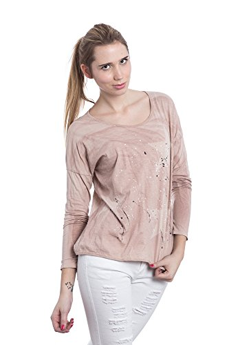 Abbino Futura Shirts Tops Damen - Made in Italy - Viele Farben - Übergang Frühling Sommer Herbst Damenshirts Damentops DamenT-shirts Lässig Langarm Sexy Sale Freizeit Elegant Muster Rosa (Art. 9825c1)