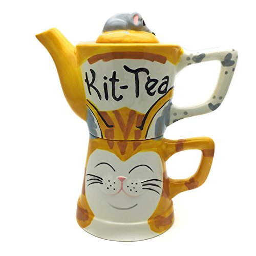 el & groove Tea for One Tee-Set | Teekanne und Tasse | 3-teiliges Teeservice mit Teekanne, Teetasse und Deckel | Kit-Tea | Katzen Tekkanne und Tasse | Geschenkidee