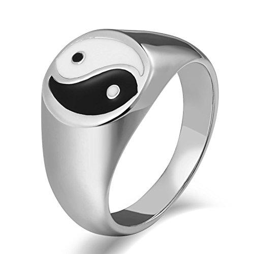 Aidsaer Ring Silber Jugendstil Ring Männer Verlobung Hochpoliertes Yin Yang Totem Runde Breite 15 Mm Ringgröße 60 (19.1) Hochzeit Band,Promise You, Ring Für Sohn (Jugendstil-planer)
