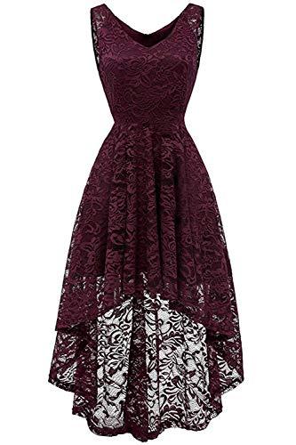 MisShow Damen Elegant Spitzenkleid Strech V Ausschnitt Abendkleid Cocktailkleider Partykleider...