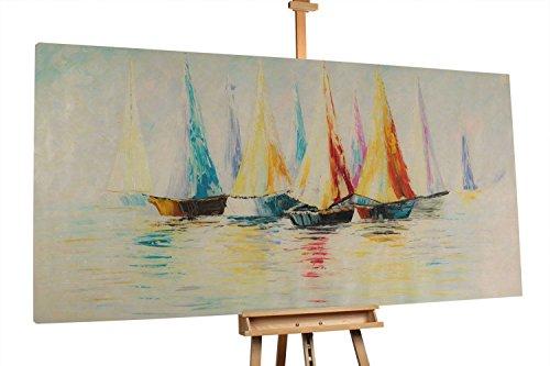 'Adventure' 200x100cm | Abstrakt Beige Weiß Segelschiffe Boote Wasser | Modernes Kunst Ölbild