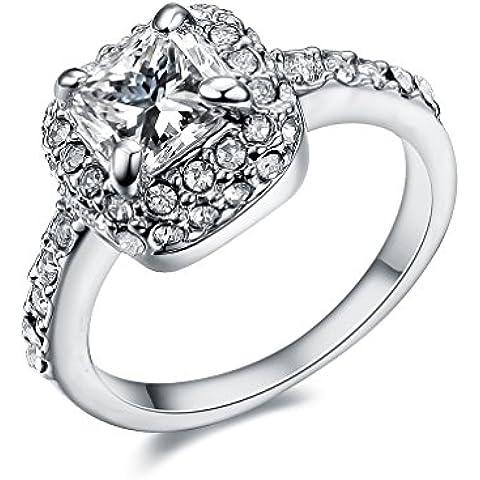 NewBox 18ct chapado en oro rosa cristal princesa CZ Garras anillos de las mujeres, compromiso, boda