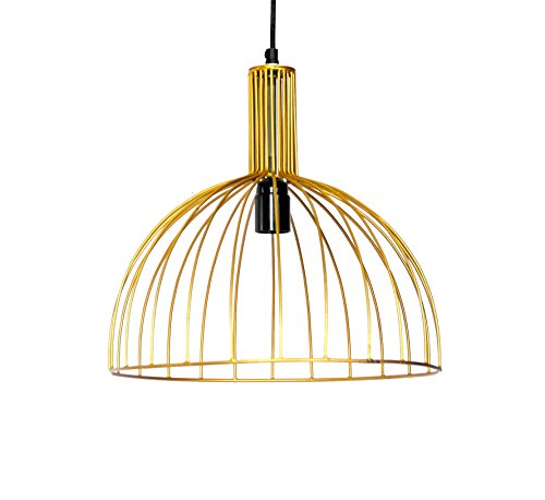 Iron cage pendant lamp with gold color finish. E27 Holder included.
