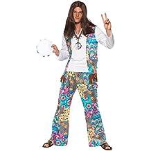 Schicker Hippie Kostüm Oberteil mit angesetzter Weste Hose und Haarband, Large