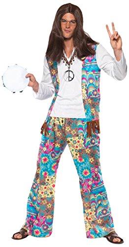 Schicker Hippie Kostüm Oberteil mit angesetzter Weste Hose und Haarband, (Hose Hippie Kostüm)