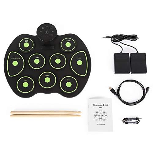 NUYI Hand Roll Drum Music Educación temprana Simulación Jazz Drum Practice Drum Beat Instrumento,Green