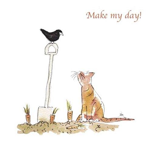 make-my-day-ginger-cat-blackbird-giardinaggio-biglietto-d-auguri
