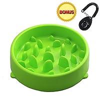 Joyoldself Gamelle d'alimentation Lente Gamelle Anti-glouton slow Feed avec Clicker Chien pour Chiens Chat, Vert