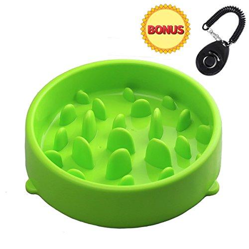 joyoldelf Anti Schling Napf Hundenapf, Bonus EIN Hundetraining Klicker - verlangsamen Essen (Grün)