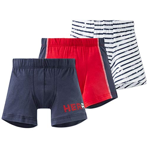 Schiesser Jungen 3pack Hip Shorts, Mehrfarbig (Rot), 116 (3er Pack