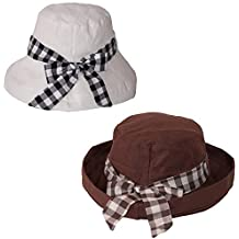 Dazoriginal Sombrero de Cubo Pamelas Playa Mujer Plegable Sombrero de Sol  Verano (2 PCS Blanco bd68866eaa47