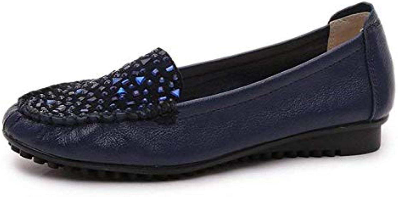 Oudan Fonds de (coloré Petites Chaussures de Cuir Souple (coloré de : Bleu, Taille : 37) 4f4738