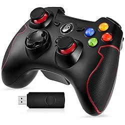 [Manette PS3 PC Sans Fil] EasySMX Manette PC sans Fil, Connectée avec USB, Manette PS3 avec Dual Shock, Compatible pour PC Windows XP/Vista, Windows 7/8/8.1/10, PS3, Android(via OTG)-(Noir+Rouge)