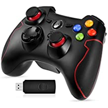 Wireless Game Controller, EasySMX EG-C3071W 2.4G Wireless Game Controller, Dual Shock, TURBO for Android Phone or Tablet with OTG Function & PS3/PC/TV or TV Box (Black and Red Joystick)