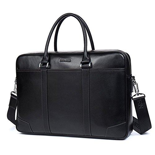 BOSTANTEN Herren Leder Laptoptasche Umhängetasche Schultertasche Businesstasche Schwarz