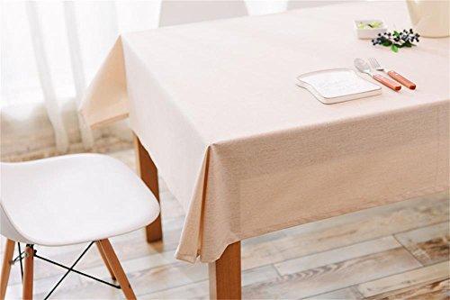 Ommda Nappe Lin Anti-tâche Imperméable Nappe de Table a Manger 120x180cm Beige