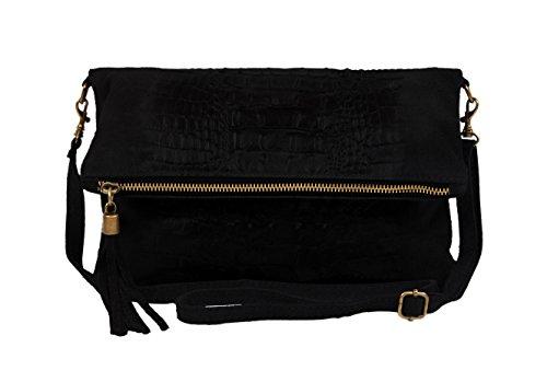 Slingbag Düsseldorf, Poschette giorno donna Grigio grigio Handliche Abendtasche, gut geeignet für den täglichen Gebrauch., beige (Grigio) - Maria Croco II beige nero
