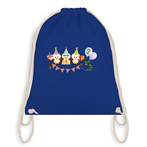 Geburtstag Kind - 2. Geburtstag süße Party Eulen - Turnbeutel I Gym Bag Royalblau