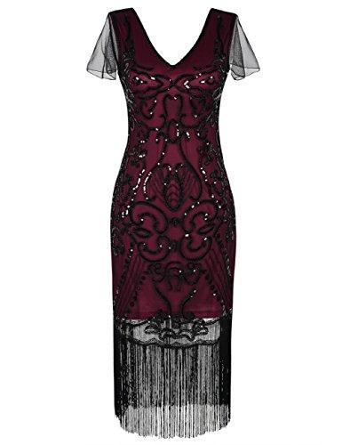 Kayamiya Damen Vintage Gatsby Kleid 1920er V-Ausschnitt Inspiriert Pailletten Franse Charleston Kleid XL Burgund