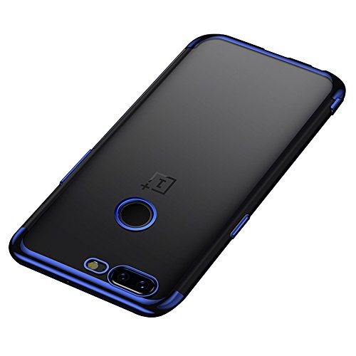BLUGUL OnePlus 5T Hülle, Electroplating Coloring, Crystal Clear Transparent Schutzhülle, Ultra-Dünn Case, Weiche TPU Silikon Cover für OnePlus 5T, Blau