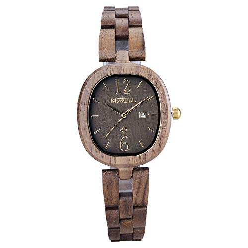 Bewell Elegant Armband Oval Holz Kleid Uhr für Damen Braun Quarz Analog Leichte Armbanduhren mit Datum