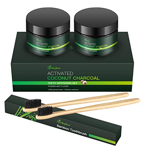 Aktivkohle Pulver Bambuszahnbürste mit Geschenkbox Teeth Whitening Bleaching Natürliches Premium Kokosnuss Aktivkohle Zahnpasta Rein Ohne Zusätze Weiße Zähne Natürliche Zahnaufhellung