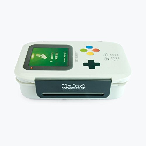 Mustard - Fiambrera hermética en forma de consola gameboy con 3 compartimentos, bento box de almuerzo, color gris width=