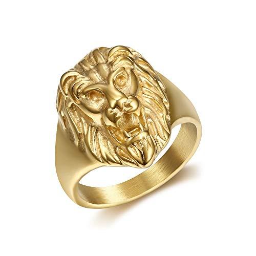 BOBIJOO Jewelry - Kleiner Siegelring Ring löwenkopf-Mann, Frau, Kind Stahl Vergoldet Gold - 18,5 (8 US), Vergoldet - Edelstahl 316