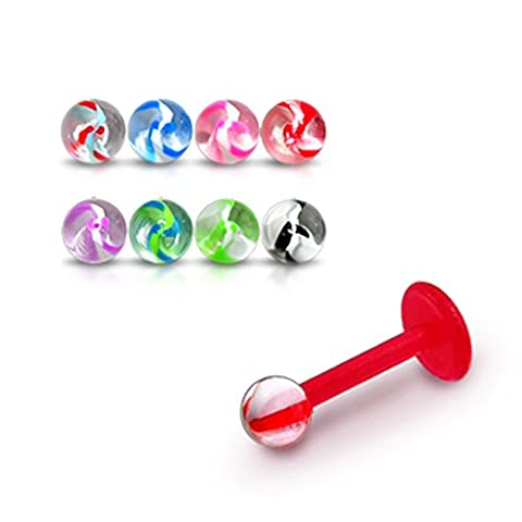 Bijou Piercing Labret pour lèvres 16Gx1/4 (1.2x6MM) Bioflex avec Boule UV marbre vissé 3MM Lot de 10 pièces couleurs assorties