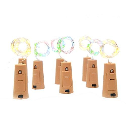 75cm Corcho Micro Luces LED para Botella de Vino,GZQES,Luz de la Secuencia del Alambre de Cobre del Corcho,Lámpara DIY Boda de Navidad Bar Deco Regalo o de Noche Luces,Luz RGB Botella de Vino Tapón,Color Multicolor (6)