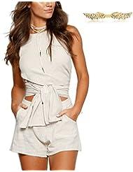 BYD Mujeres 2pcs Traje de Algodón Camisetas Asimétrico Cruzar Tank top + Pantalones Cortos de Verano