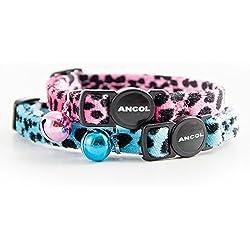 Collar para gatos Ancol Acticat de terciopelo estampado leopardo