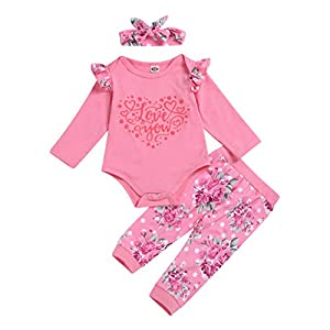 Mameluco del bebé Conjunto de Trajes de Diadema para bebés con Estampado de San Valentín de 3 Piezas para bebés y niñas 7