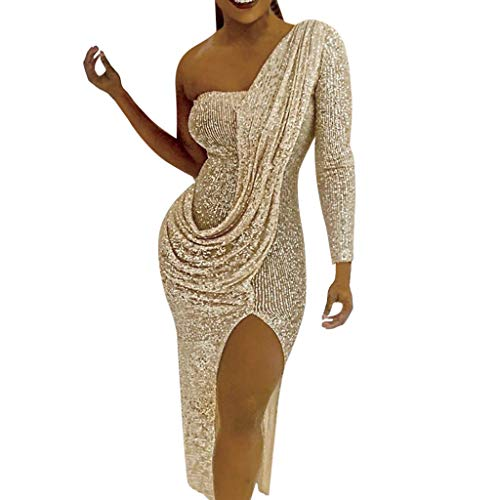 Bluestercool Damen Abendkleid Sexy Fashion Bodycon Kleid Pailletten Prom Party Ball Gown Cocktailkleid Brautjungfernkleid lang Dress X-Large Jaune-7