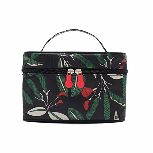 Drucken Kosmetiktasche Multifunktional Wasserdicht Oxford Tuch Handtasche Reisetasche Make-up-Organizer  Kosmetik Tasche für Make-up, Haar-Accessoires, Lotion – Medium Black Green leaf (Mini-handtasche Make-up Drucken)